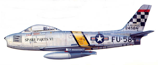 North American F-86 Sabre - flown by Chuck Hewitt with the 25th Squadron, 51st FIW, Korea, 1952