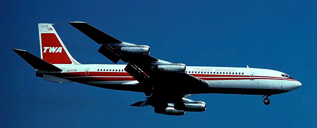 TWA (Trans World Airlines) Boeing 707 flown by Capt. Chuck Hewitt, 1973.