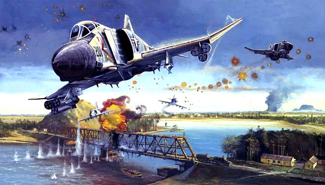 Jeff Hewitt's McDonnell Douglas F-4E Phantom bombing the Thanh Hoa Bridge,