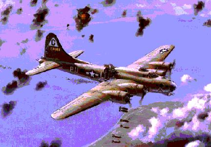 B-17 Bad Check jettisoning its Bomb Load